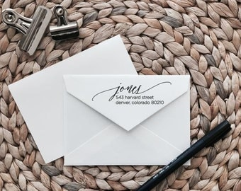 Custom Return Address Stamp | Script Style | Wood with Handle or Self Inking