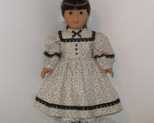 Cream and Black Civil War Dress and Pantaloons, AG Doll Historical, American Doll Civil War, Fits 18 Inch American Girl Dolls