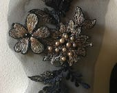 Small Black Gold Copper Applique #1, Beaded and Embroidered for GRAD, Lyrical Dance, Ballet, Couture Gowns, Costume Design