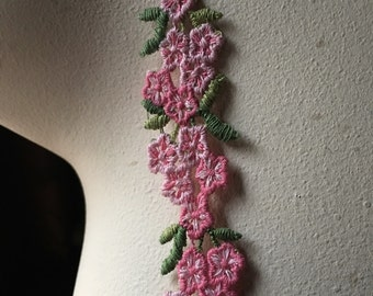 2 yds. Vintage Pink Flower Trim for Appliques, Garments