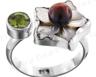 Peridot Mother Of Pearl Biwa 925 Sterling Silver Sz 8 Ring