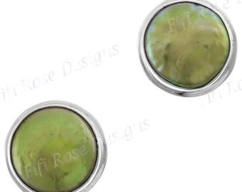 Green Freshwater Coin Pearl 925 Sterling Silver Post Earrings