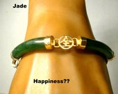 Green Jade Stone Linked Bangle Bracelet with Gold Accents, 1980s Classic Asian Chinese. Happiness n Destiny, I Think, Used, Not Perfect