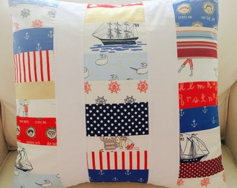 Nautical Quilted Patchwork Pillow -- 18 Inch