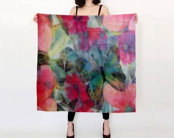 Butterfly Floral Burst Silk Scarf / Wearable Original Art / Encaustic Painting on 100% Silk Habotai / Available in 2 Sizes / Made to Order