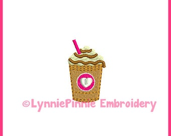 Mini Coffee Frappe Embroidery Design 4x4 Machine Embroidery Design