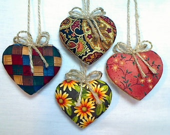 Fall Heart Ornaments | Autumn Decorations | Party Favor | Thanksgiving | Earth Tones | Holidays | Handmade | Reversible | Set/4 | #1