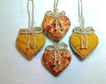 Miniature Fall Heart Ornaments | Fall Decor | Handmade Ornaments | Party Favor | Thanksgiving | Halloween | Holidays | Set of 4 | #2