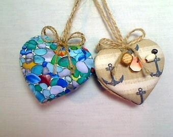 Seashells and Beads Nautical Heart Ornaments | Tree Ornament | Christmas Ornament | Nautical Decor | Ocean Decor | Handmade Gift | Set/2 |#3