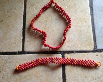 Seed Bead Necklace and Bracelet Set