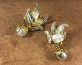 Detailed Damascene Faux Pearl Dangling Earrings Clip On Goldtone Setting Made in Spain