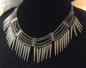 Brutalist Modernist Spiked Chain Bib Necklace Goldtone Egyptian Unsigned