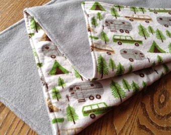 """Boy Blanket, Flannel and Fleece 32"""" x 40"""" ready to ship, Campers, vintage, Airstream"""