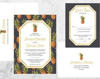 Pineapple Wedding Invitation, Tropical Wedding Invitation, Destination Wedding Invitation, Hawaii Wedding,  DEPOSIT