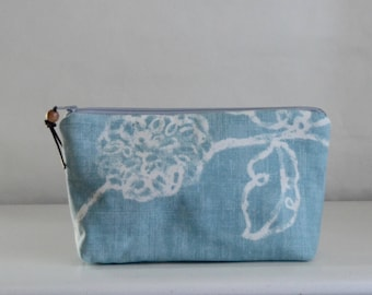 Muted Blue Blooms Wide Padded Zipper Pouch Gadget Case Cosmetics Bag - READY TO SHIP