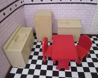 """Strombecker Dollhouse Kitchen Set - Ivory with Red Table and Chairs - 3/4"""" Scale"""