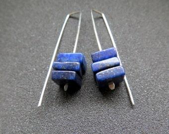 blue stone earrings. lapis lazuli jewelry. modern jewellery.