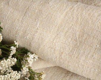 310 :  handloomed antique linen plain,NATURAL CREAMY 4.37yards 리넨 french lin curtain panel;  wedding, tablecloth, upholstery, roman blinds