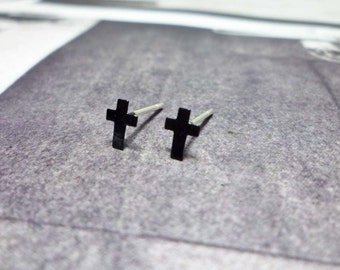 Tiny Black Cross Stud Earrings, Sterling Silver Cross Earrings, Cross earrings