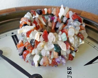 One Wrap bracelet with glass chip beads - White carved birds  - Multi color - Boho style cuff - Bohemian - One of a Kind - bycat