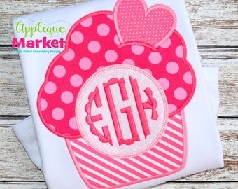 Machine Embroidery Design Embroidery Cupcake Heart Monogram INSTANT DOWNLOAD