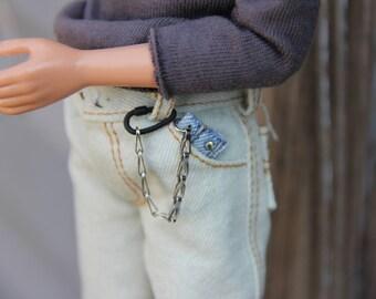 Wore Out Denim Biker Redneck Chain Wallet fits 1:6 scale 12 inch Male Dolls Petite Slimline High Boy Guy Male Fashion Dolls