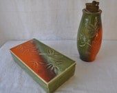 Raymor Italian Art Pottery Smoking Set/Cigarette Box and Lighter/Vintage 1960s/MCM Art Pottery/Orange and Green with Green Leaf Stamps
