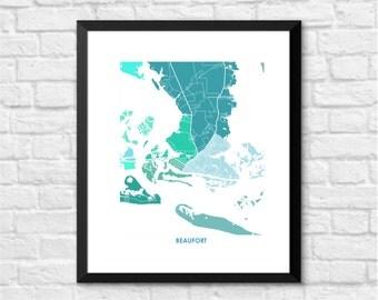 Beaufort NC Map Print.  Choose the Colors and Size.  North Carolina Coastal Living Decor.