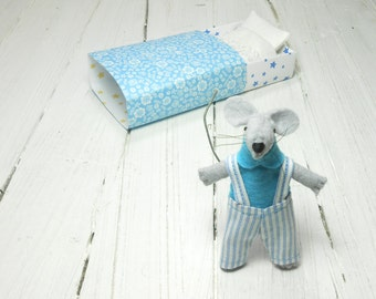 Kids gift tiny stuffed mouse bed small felt animals stocking felt mouse in matchbox waldorf doll Christmas gift baby blue striped overalls