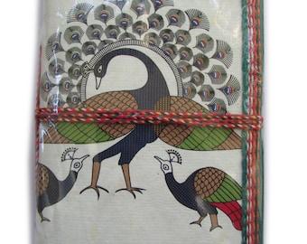 Dancing Peacocks, Indian Art Journal, Yellow, Blank Journal,Gardener Gift,Naturalist Gift, For Him, For Her, Unisex Present, Handmade Paper