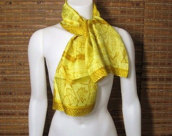 60s Long Scarf Vintage Vera Neumann All Silk Ladybug Mark, Yellow Mod Abstract Scene, Rectangle Oblong, Hand Rolled Made In Japan