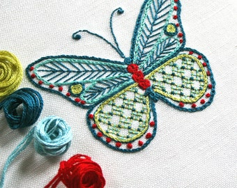 Embroidery Pattern Kit, Butterfly Embroidery Kit, pdf, Crewel Embroidery Kit, Cairns Birdwing Butterfly, digital pattern kit, Prairie Garden