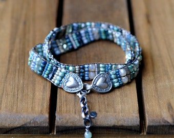 xX RESERVED Xx Remaining Balance xX Sterling Silver Bead Woven Bracelet,  Leather Double Wrap Beaded Bracelet, Silver Bead Woven Cuff