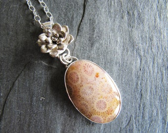 Pendant of Fossil Coral, Cast Sedum, and Rabbit in Sterling Silver