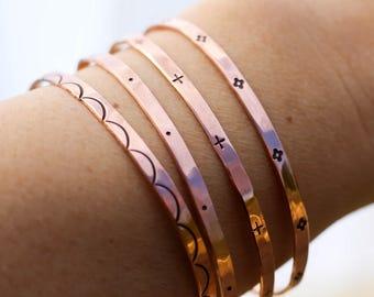 Boho Cuff Bracelet, Copper Cuff, Hipster Bracelet, Hammered Cuff, Copper Bracelet, Womens Copper Bracelet, Choice Of 1, Bridesmaid Bracelet