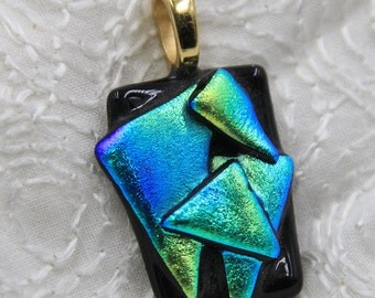 Mystery Fused Dichroic Glass Pendant blue green tack fused