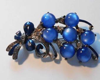 Vintage Blue Bouquet Brooch