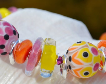 SWEET TREATS-Handmade Lampwork and Sterling Silver Bracelet