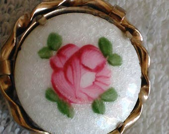 Vintage Pink Rose Brooch Pin