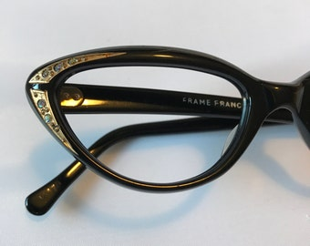 Black Cateye Glasses with Rhinestone Temple Details, Vintage 1950s deadstock Eyeglasses Cat Eye Style with Gold Accents and Rhinestones