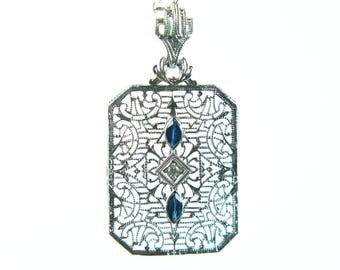 art deco diamond + sapphire 14k filigree necklace white gold necklace paper clip chain 1920s vintage flapper wedding gift