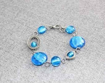 bracelet, bijoux, bracelet bleu, bracelet verre, bleu, verre soufflé, bracelet étain, ajustable, fait à montreal, bijoux fantaisie, quebec