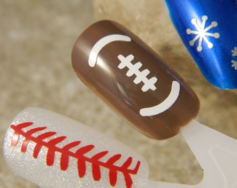 Baseball Stitches Fingernail Whimsy Nail Decals