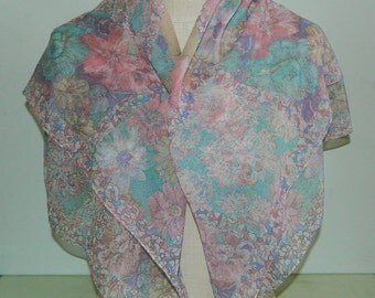 "Pastel Floral Sheer Silk Scarf Large 36"" Square Scarf"