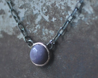 burro creek necklace, 14k rose gold and dark sterling silver, round lavender stone, handcrafted pendant, purple