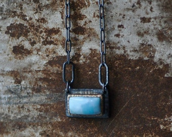 Larimar necklace, 14k gold bezel on dark sterling silver, rectangle stone, sky blue pendant