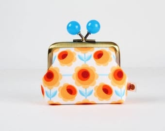 Metal frame coin purse with color bobbles - Blossom white - Color mum / Retro flowers / orange red  blue