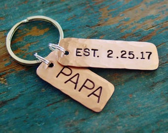 Papa Keychain, Papa Est Keychain,Copper Gift,Hand Stamped,Established Date,Personalized,New Dad Gift,Papa Gifts,Father's Day,Gift from Child