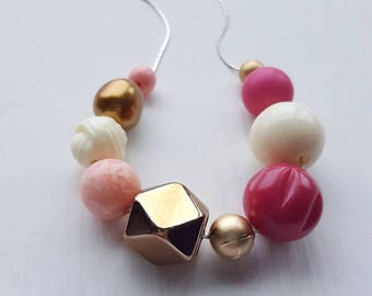 club night necklace - remixed vintage beads - pink gold fuchsia - chunky jewelry
