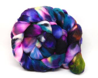 Handpainted Superwash Merino Wool Roving - Acid Rainbow - 4 oz Blue Green Pink Purple